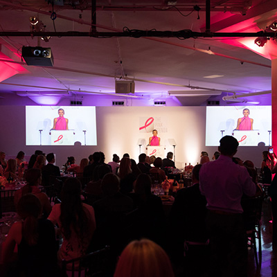 photo: guests watching presenter on stage at Pink Agenda Event