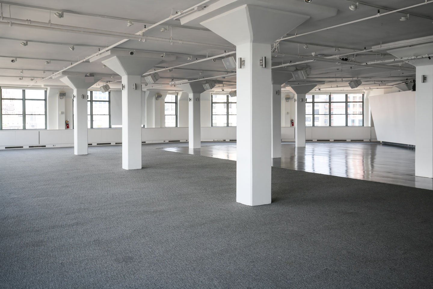 photo: interior white columns of tr360 event space