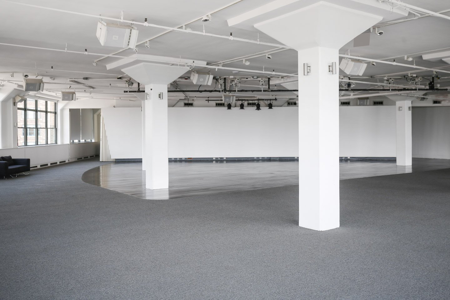 photo: interior white columns and dancefloor at tr360