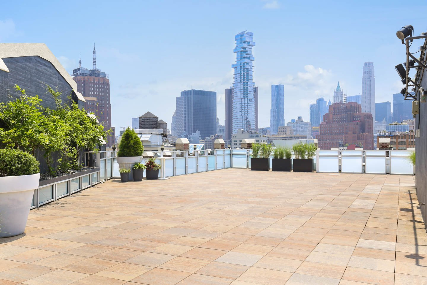 photo: rooftop ceremony space with downtown manhattan views